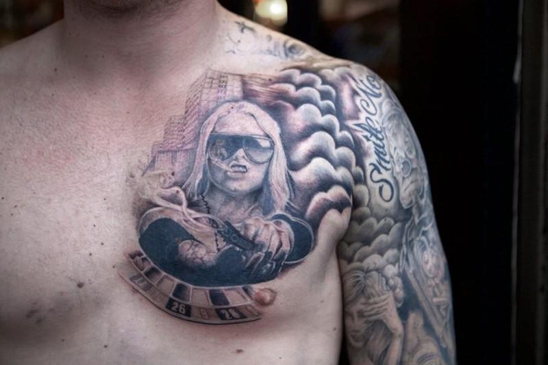 Realistic tattoo boy suit in progress walls and skin amsterdam gangster gun bijlmer casino