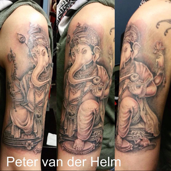 Ganesh tattoo black and grey by Peter van der Helm @ Walls and Skin