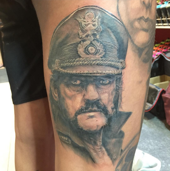Lemmy Kilmister Motorhead tattoo black and grey by Peter van der Helm @ Walls and Skin