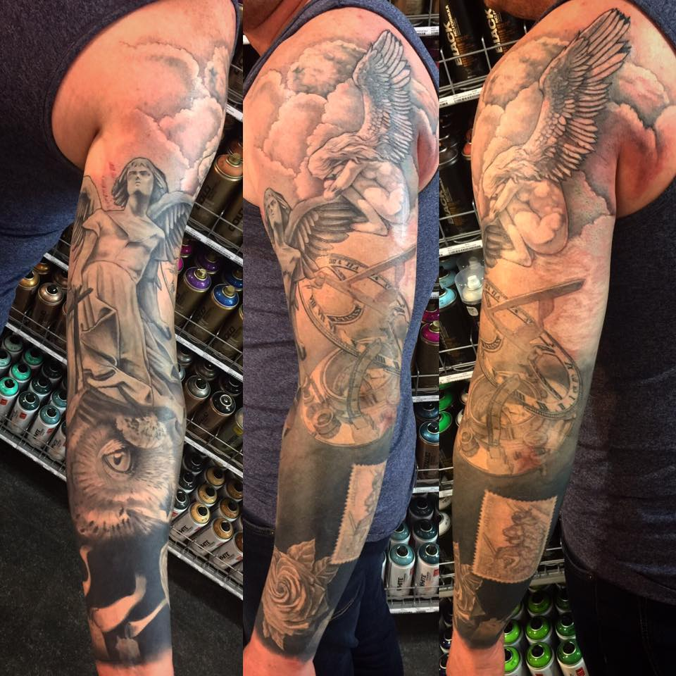 Sleeve tattoo by Peter van der Helm