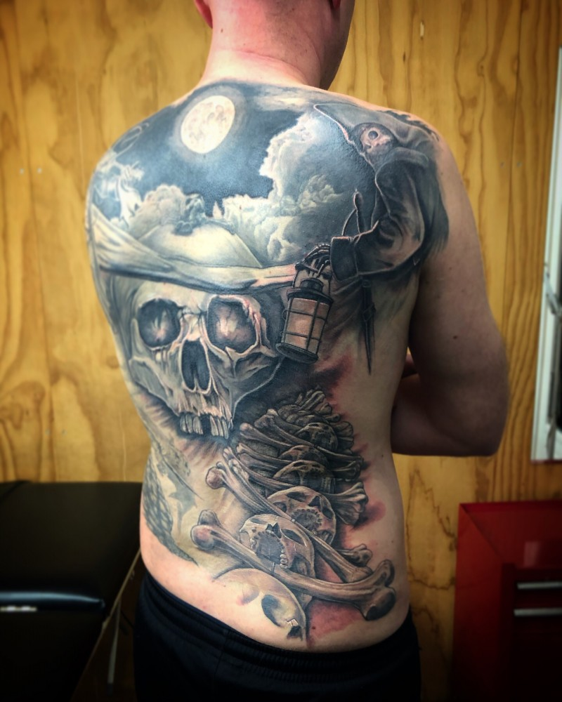 Skull backpiece black and grey tattoo by Peter van der Helm - Walls and Skin