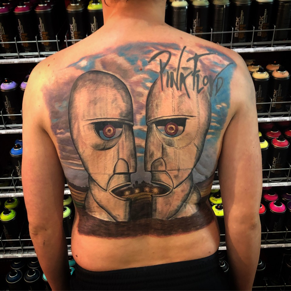 Pink Floyd full backpiece tattoo